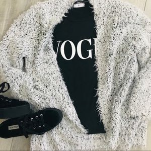 Kensie || White & Black Fuzzy Open Cardigan